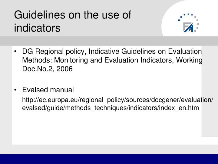 Guidelines on the use of indicators