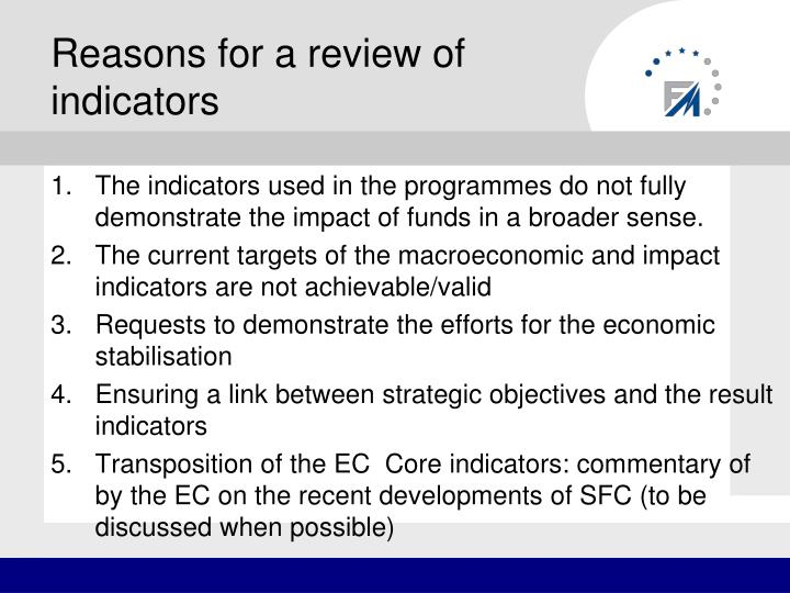 Reasons for a review of indicators