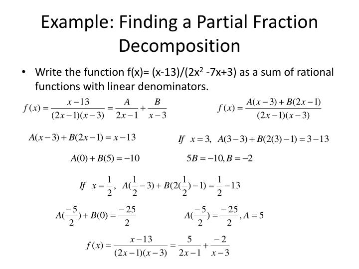 Example: Finding a Partial Fraction Decomposition