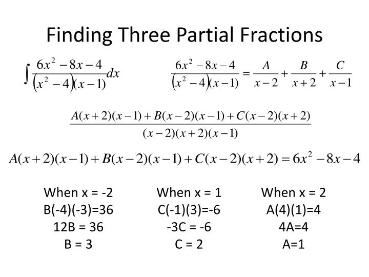 Finding Three Partial Fractions