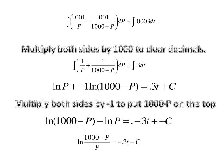 Multiply both sides by 1000 to clear decimals.