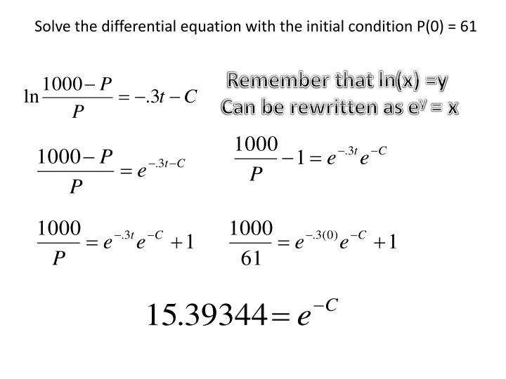 Solve the differential equation with the initial condition P(0) = 61