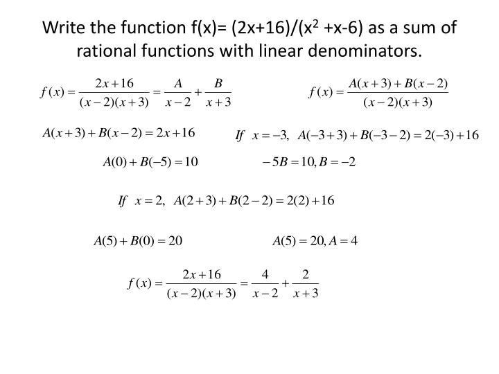Write the function f(x)= (2x+16)/(x