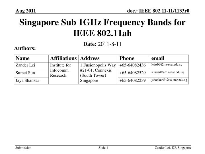singapore sub 1ghz frequency bands for ieee 802 11ah n.