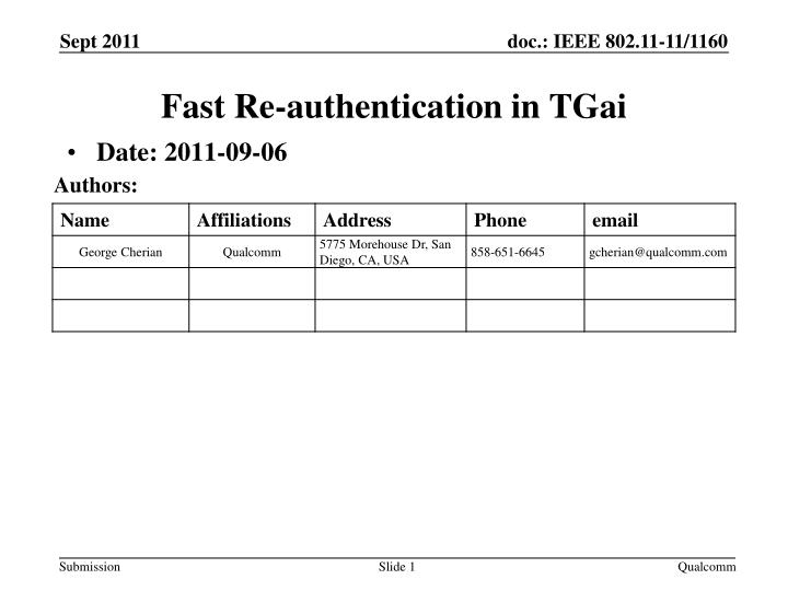 Fast re authentication in tgai