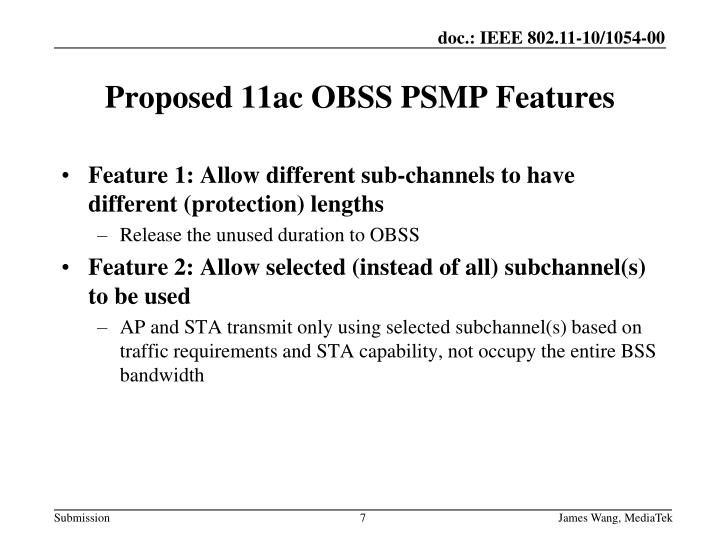 Feature 1: Allow different sub-channels to have different (protection) lengths