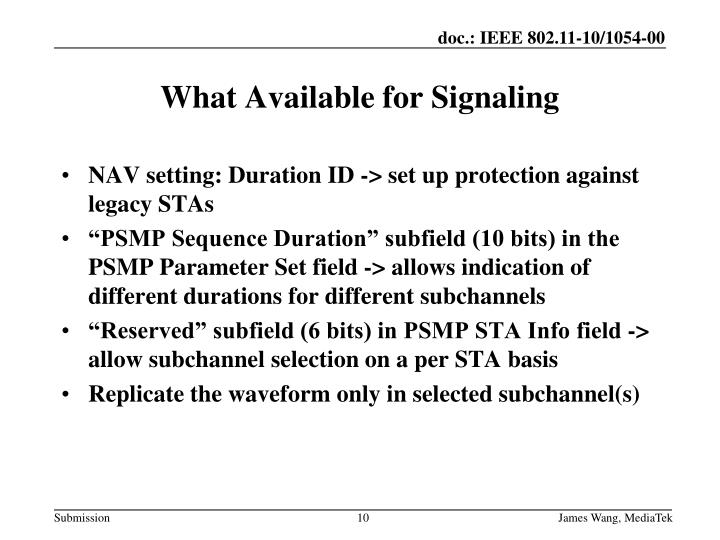 NAV setting: Duration ID -> set up protection against legacy STAs