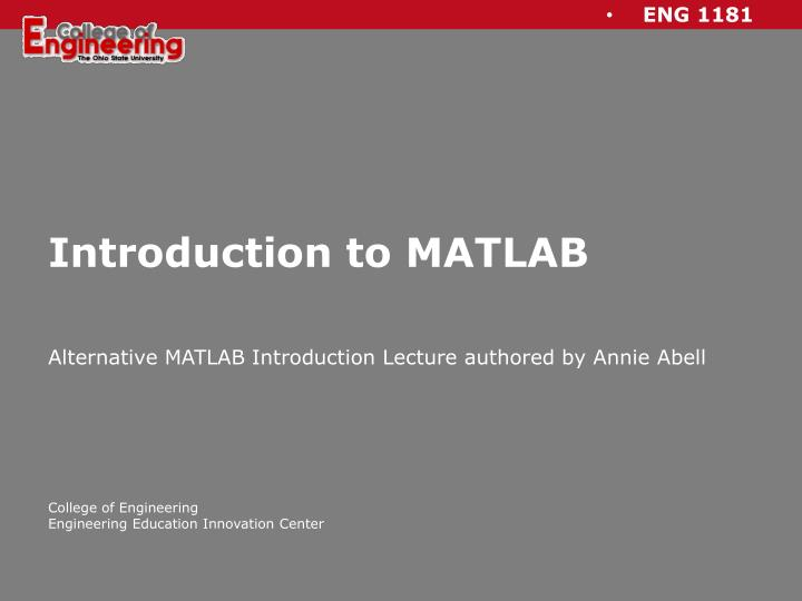 introduction to matlab n.