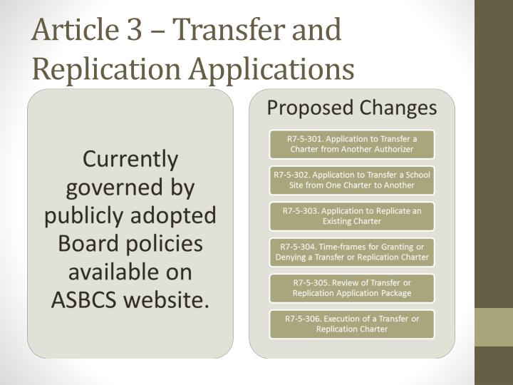 Article 3 – Transfer and Replication Applications