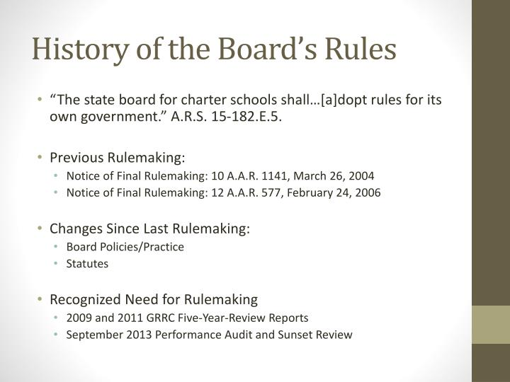 History of the board s rules