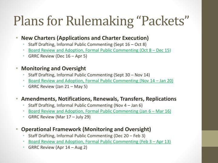 """Plans for Rulemaking """"Packets"""""""
