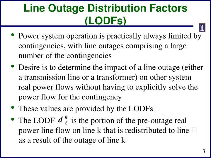 Line outage distribution factors lodfs