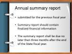 annual summary report