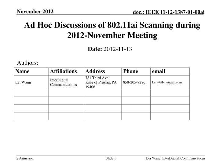 ad hoc discussions of 802 11ai scanning during 2012 november meeting n.