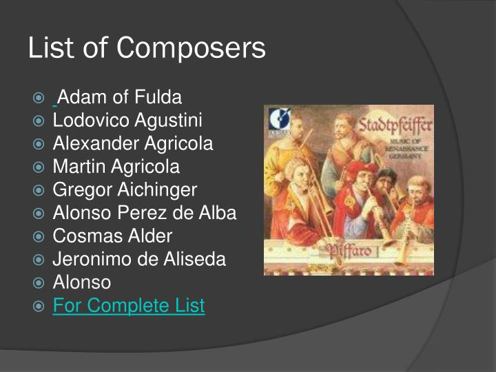 List of Composers
