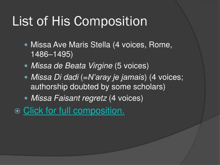 List of His Composition