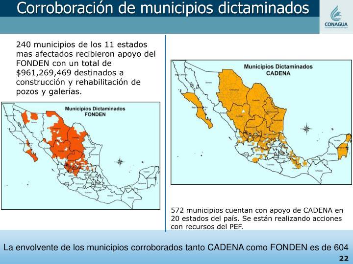 Corroboración de municipios dictaminados