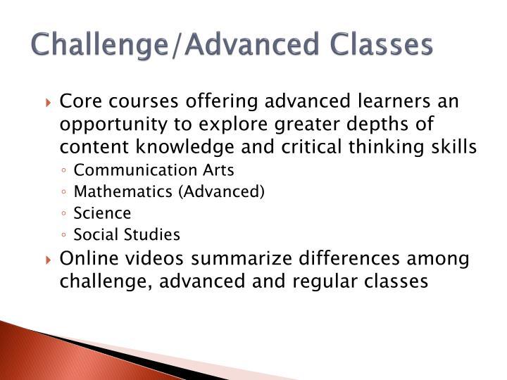 Challenge/Advanced Classes
