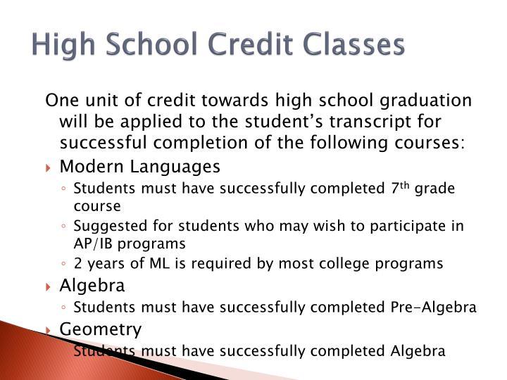High School Credit Classes
