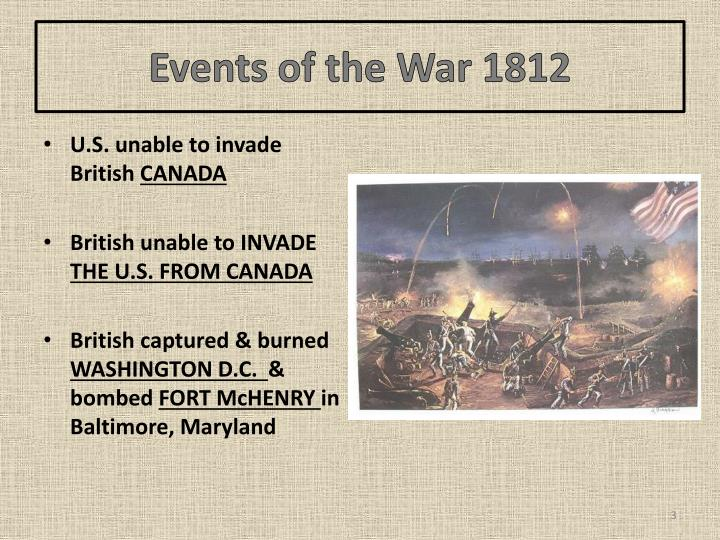 Events of the war 1812