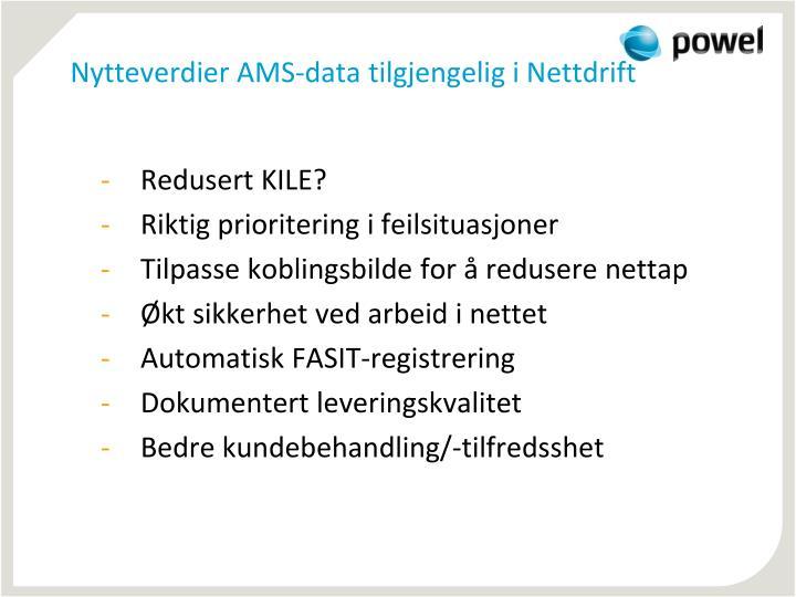 Nytteverdier AMS-data tilgjengelig i Nettdrift