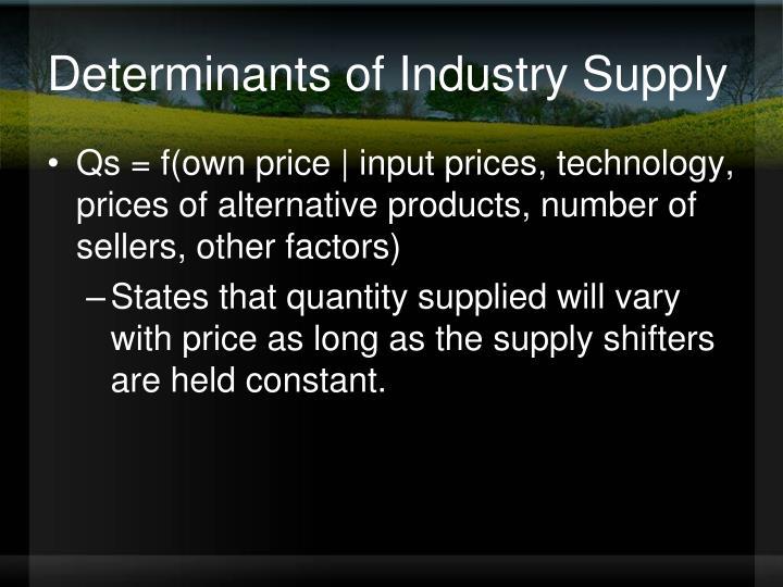 Determinants of Industry Supply