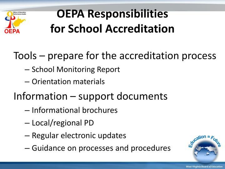 OEPA Responsibilities