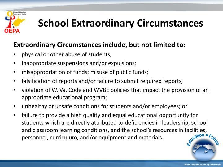 School Extraordinary Circumstances