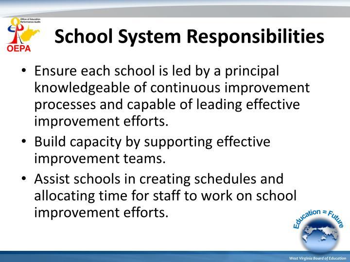 School System Responsibilities