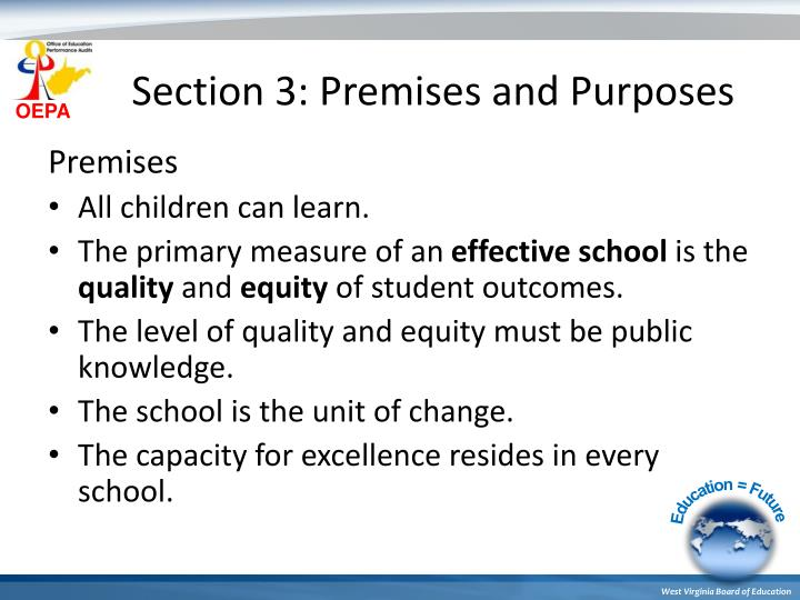 Section 3: Premises and Purposes
