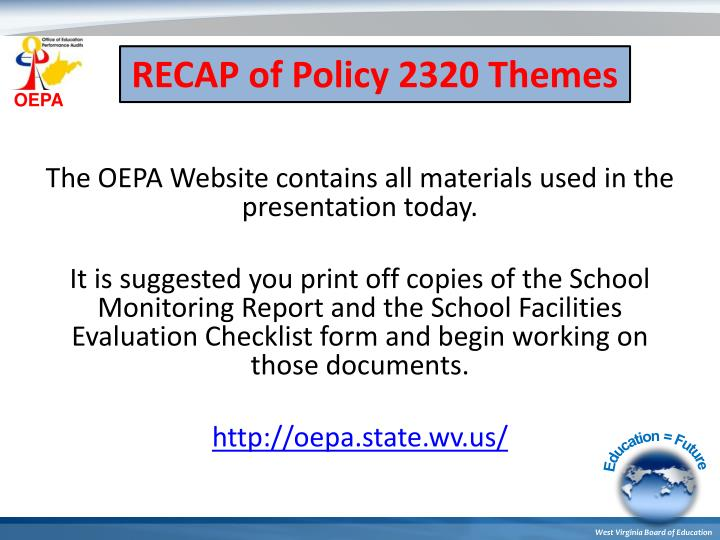 RECAP of Policy 2320 Themes