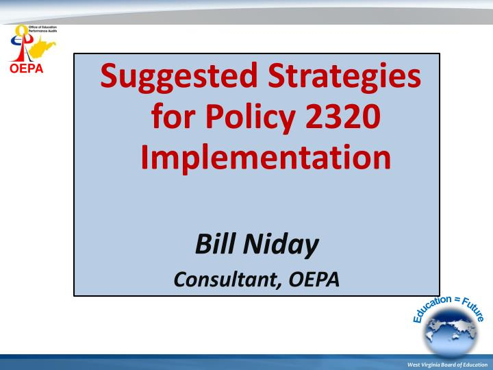 Suggested Strategies for Policy 2320 Implementation