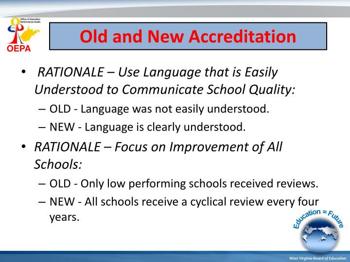 Old and New Accreditation