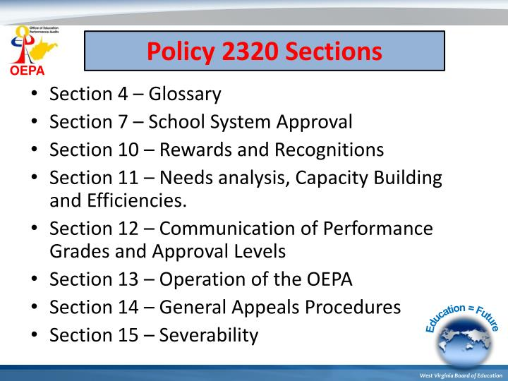 Policy 2320 Sections