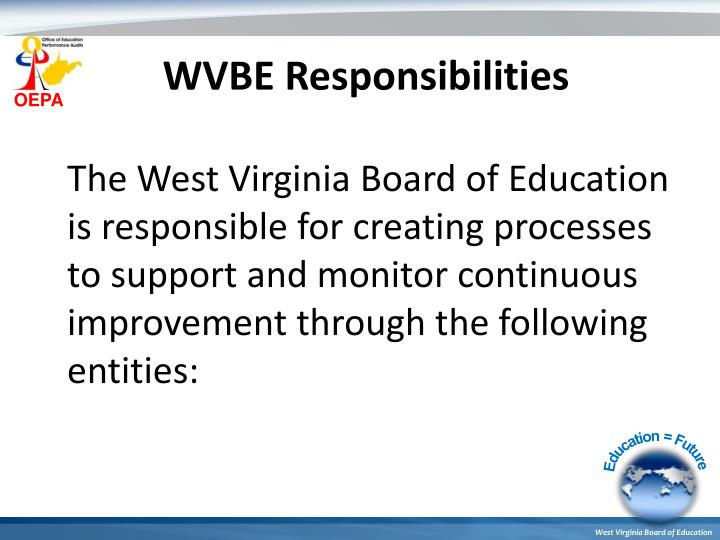 WVBE Responsibilities