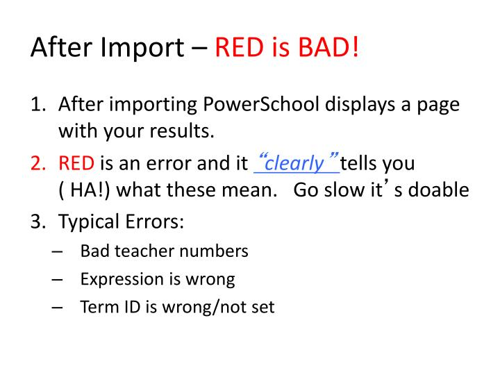 After Import –