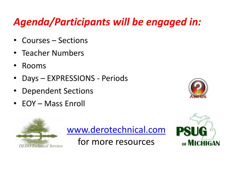 Agenda participants will be engaged in
