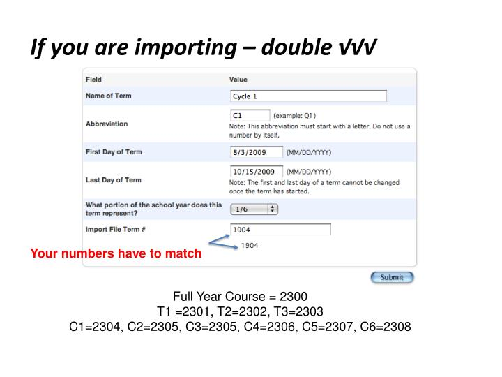 If you are importing – double √√√
