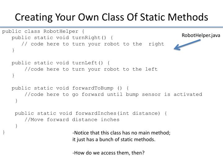 Creating Your Own Class Of Static Methods