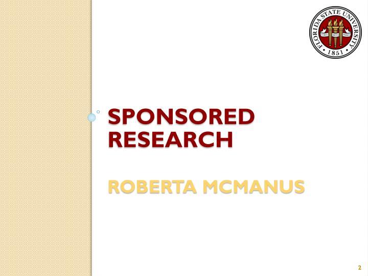 Sponsored research roberta mcmanus