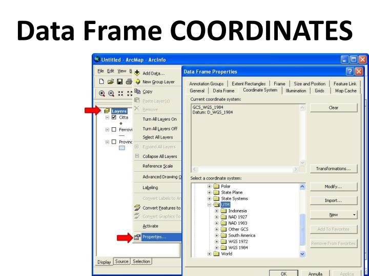 Data Frame COORDINATES