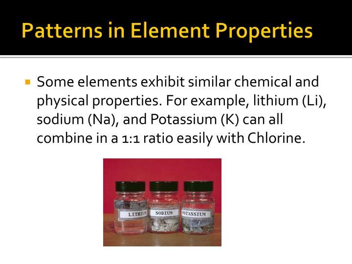 Patterns in element properties