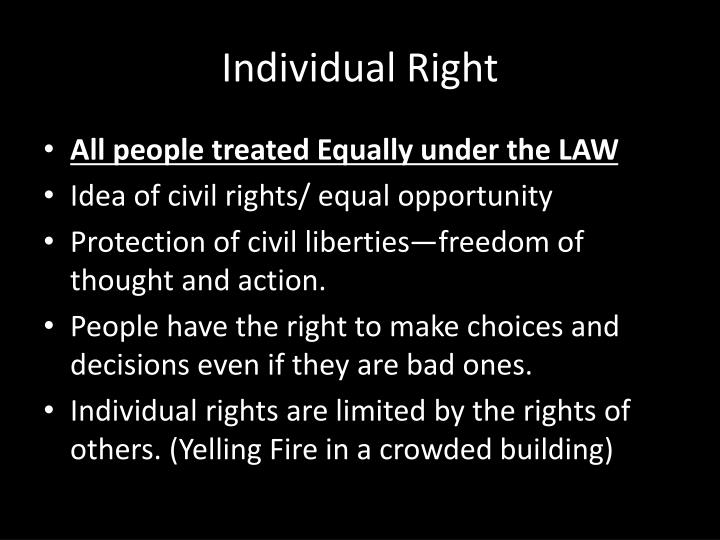 right on individual autonomy Individual autonomy personal autonomy (stanford encyclopedia of philosophy) 1 introduction when people living in some region of the world declare that their group has the right to live autonomously, they are saying that they ought to be allowed to govern themselves.