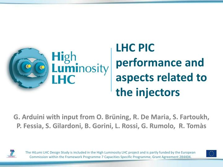 lhc pic performance and aspects related to the injectors n.