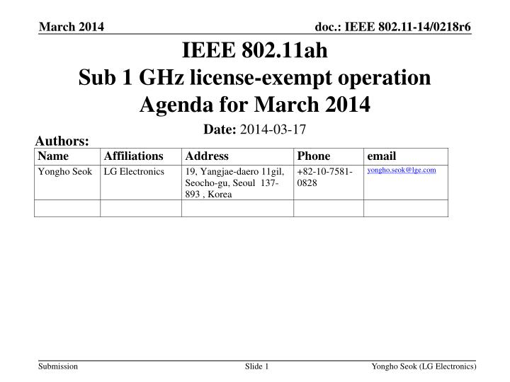 ieee 802 11ah sub 1 ghz license exempt operation agenda for march 2014 n.