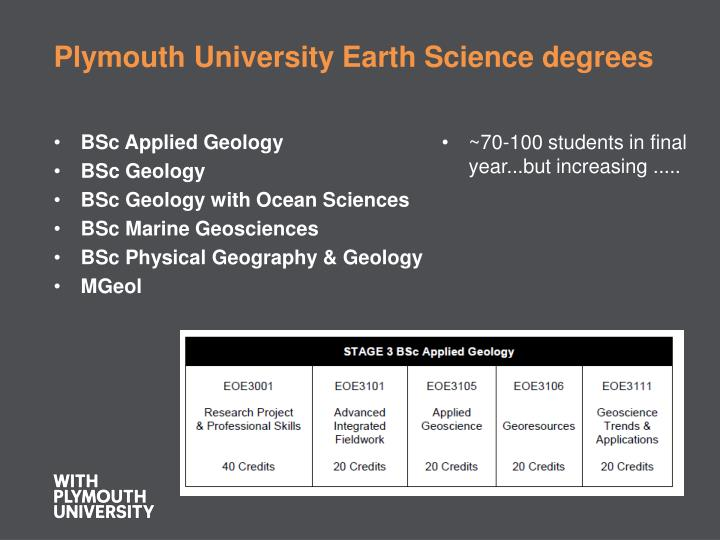 Plymouth university earth science degrees
