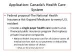 application canada s health care system