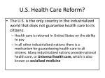 u s health care reform
