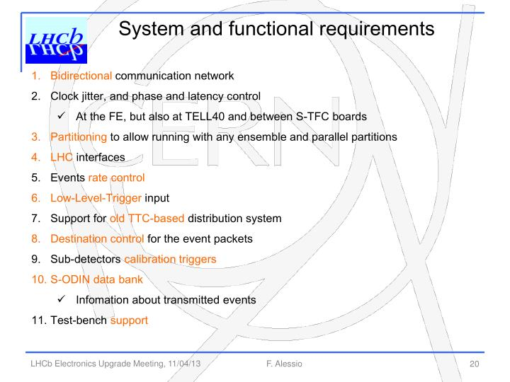 System and functional requirements