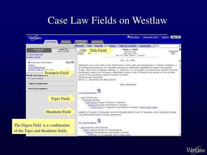 Case Law Fields on Westlaw